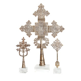 Coptic Processional Crosses from Ethiopia on Lucite Bases For Sale