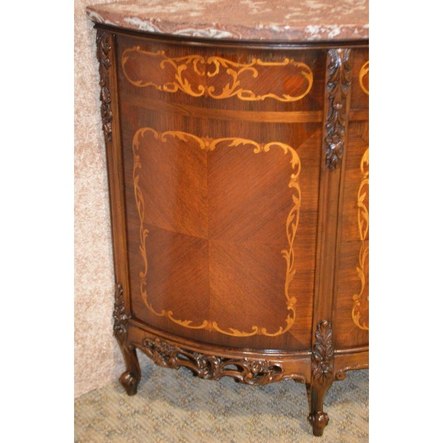 Engraved Limestone Inlay : Vintage marble top carved inlaid french style three