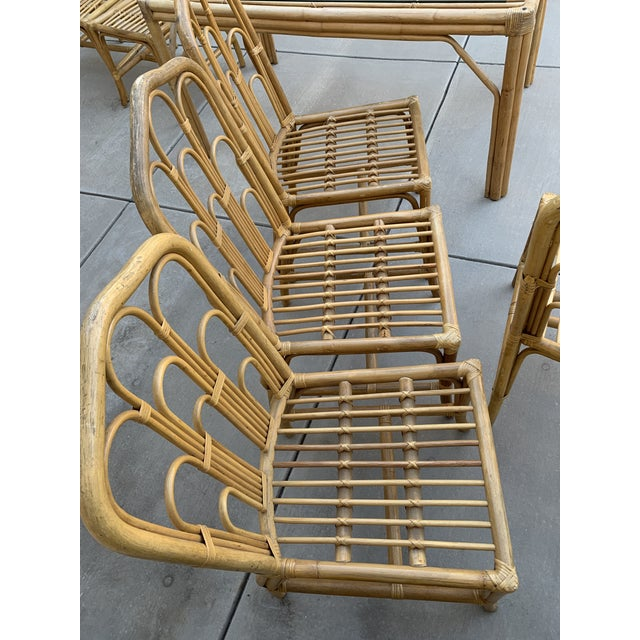 1970s Boho Chic Bamboo Dining Set of Six Chairs For Sale In Los Angeles - Image 6 of 13