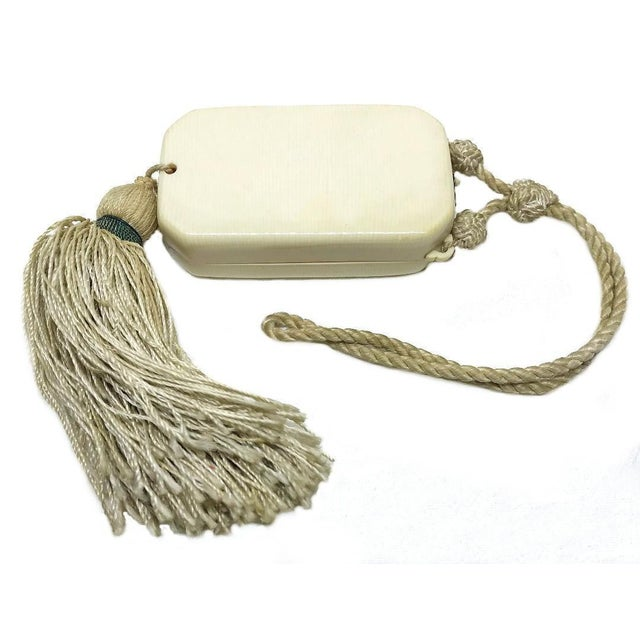 Art Deco 1920s Celluloid Vanity Purse With Tassel For Sale - Image 3 of 5