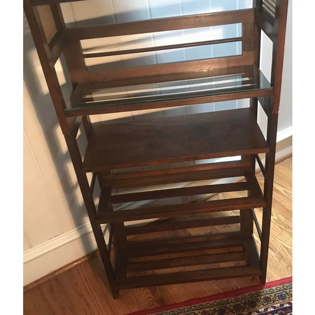 3 Tier Cane and Wood Shelving Unit For Sale - Image 10 of 13