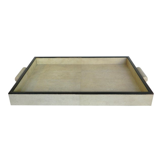 2010s Natural Shagreen Rectangular Tray For Sale - Image 5 of 5