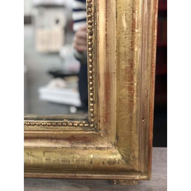 Mid 19th Century 19th Century Antique French Louis Philippe Gold Leaf Mirror For Sale - Image 5 of 11