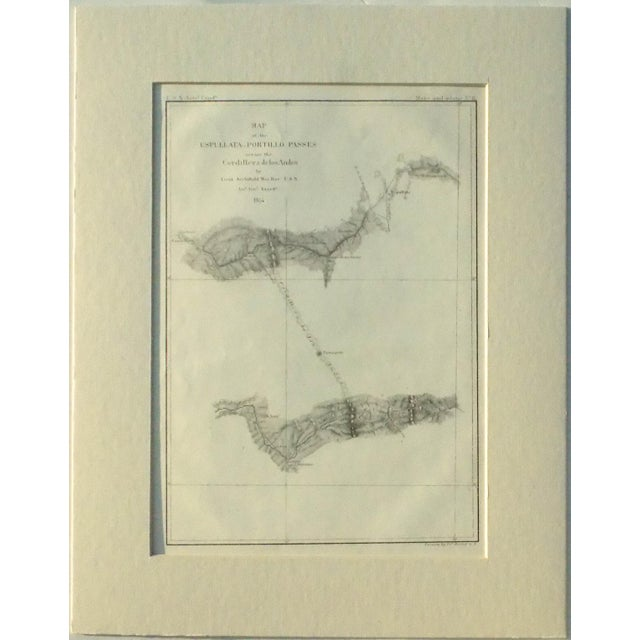 Traditional Santiago, Chili Uspullata & Portillo Passes, 1855 Map For Sale - Image 3 of 8