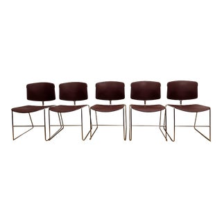 Mid Century Steelcase Master Stacker Sled Base Chairs - Set of 5 For Sale