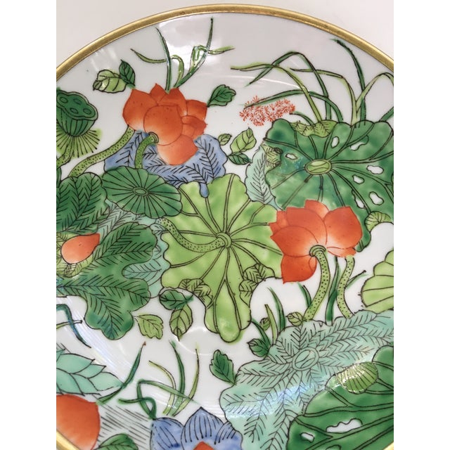 Chinoiserie Floral Hand Painted Porcelain Brass Encased Bowl/Catchall - Made in Japan For Sale - Image 10 of 12