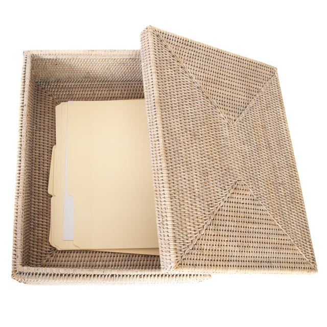 Artifacts Rattan Storage Box With Lid For Sale - Image 4 of 6