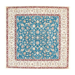"Contemporary Nain Silk & Wool Area Rug - 8'2"" X 8'1"" For Sale"