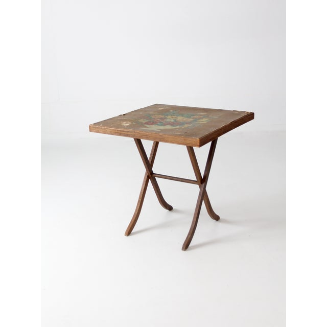 1930s Vintage Floral Folding Table For Sale - Image 5 of 10