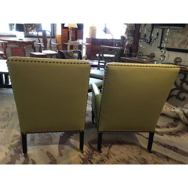 Vintage Lime Green Leather George Smith Club Chairs- A Pair For Sale In Philadelphia - Image 6 of 11