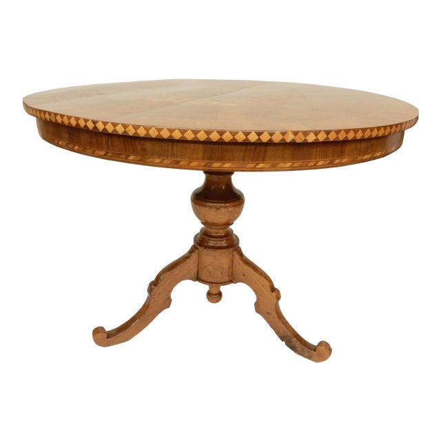 19th C. Italian Inlaid Walnut Center Hall Table For Sale