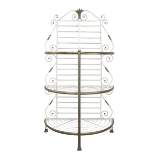 19th Century French Wrought Iron Demi-lune Baker's Rack For Sale