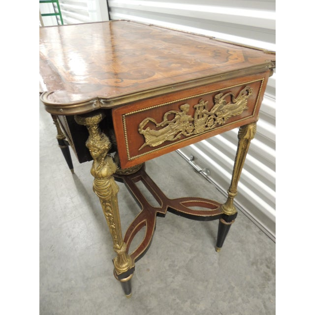 Brown Vintage Reproduction of Louis XVI Style Center Table For Sale - Image 8 of 10
