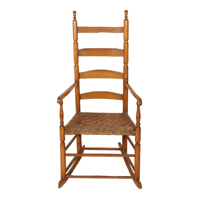Early 20th Century Ladder High Back Rocking Chair For Sale
