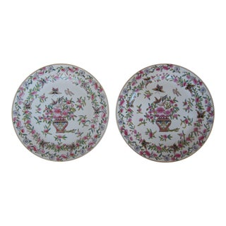 Pink Chinoiserie Decorative Wall Plates - A Pair