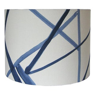 New, Made to Order, Channels Fabric in Periwinkle, Small Drum lampshade Preview