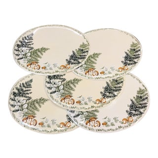 1960s Cottage Fern and Mushroom Placemats - Set of 5