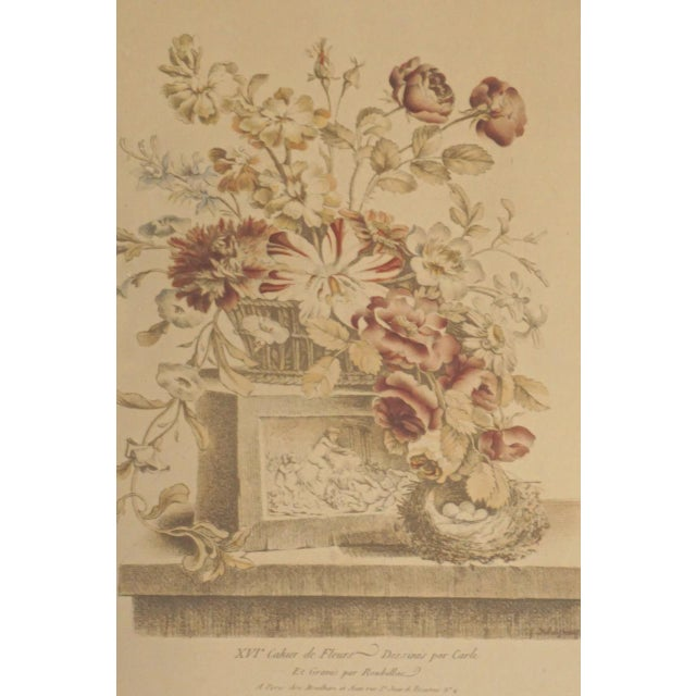 Mid 19th Century 19th Century French Hand Colored Floral Etchings-A Pair For Sale - Image 5 of 12