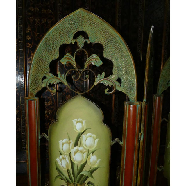 Painted Metal Room Divider/ Floor Screen or Queen Size Headboard For Sale In West Palm - Image 6 of 13