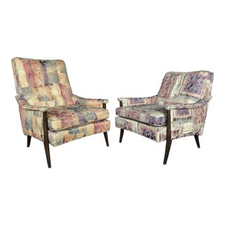 Mid Century Modern Bohemian High Back and Low Back Abstract Floral Lounge Chairs For Sale