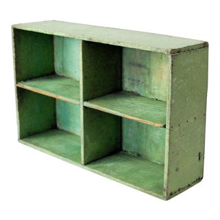 Vintage Mid-Century Rustic Green Wood Box For Sale