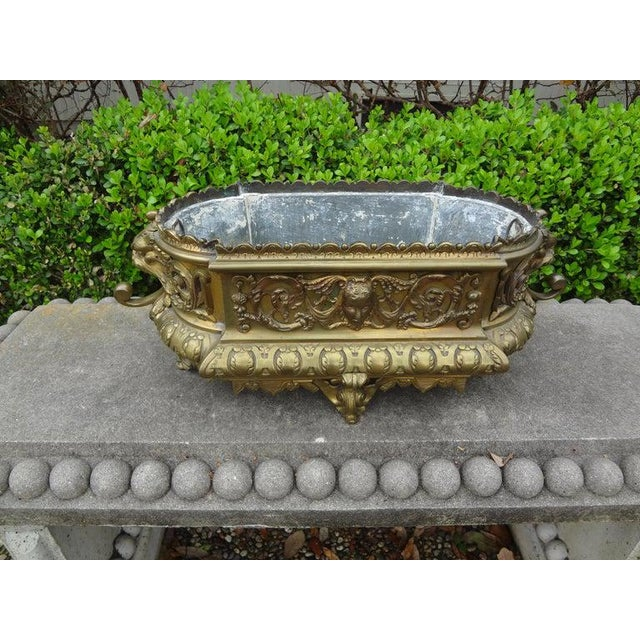 19th Century French Napoleon III Brass Jardiniere or Planater For Sale In Houston - Image 6 of 11