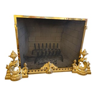 Antique Brass Andirons, Fender and Fireplace Screen - Set of 4 For Sale