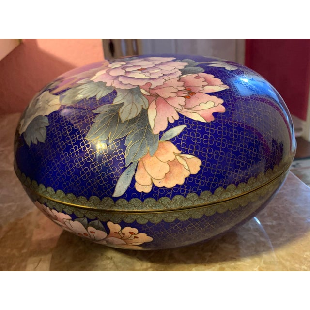 """Large """"Cloisonne"""" Enamel Bronze Bowl With Top For Sale - Image 10 of 10"""