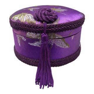 1980s Silk Covered Tasseled Trinket Jewelry Box For Sale