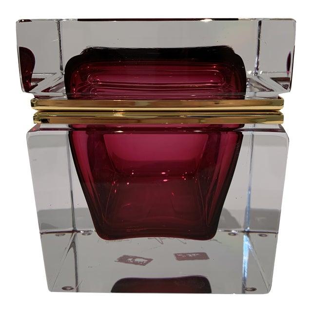 Magenta Italian Mandruzzato Murano Glass Hinged Box For Sale