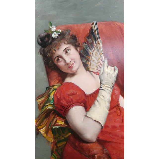 Realism Jean Joseph Weerts - Portrait of a Woman in Red W/A Fan- Oil Painting C1880s For Sale - Image 3 of 11