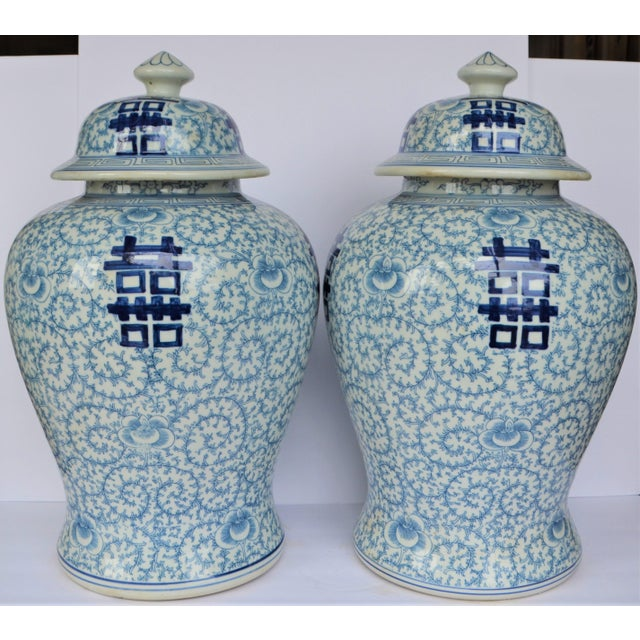 Vintage Happiness Ginger Jar Vases - a Pair For Sale - Image 4 of 7