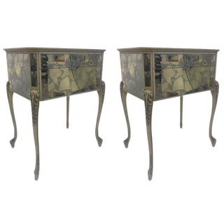 Pair of 1950s Églomisé Nightstands For Sale