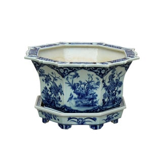 Chinese Canton Octagon Blue & White Porcelain Flower Birds Planter Large For Sale