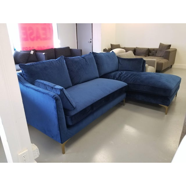 Outstanding Navy Blue Velvet Sectional Sofa With Right Chaise Onthecornerstone Fun Painted Chair Ideas Images Onthecornerstoneorg