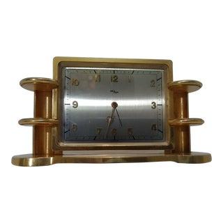 1940s Vintage Arthur ImHof Swiss Made Art Deco/Streamline 8 Day Desktop Alarm Clock For Sale