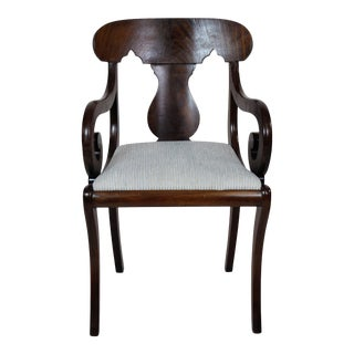 Vintage French Louis XV Restauration Period Small Walnut Armchair Newly Upholstered For Sale