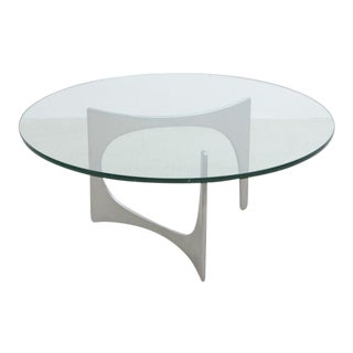 Aluminum and Glass Coffee Table by Knut Hesterberg for Ronald Schmitt For Sale