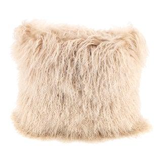 Beige Mongolian Sheepskin Pillow by Tasha Tarno For Sale