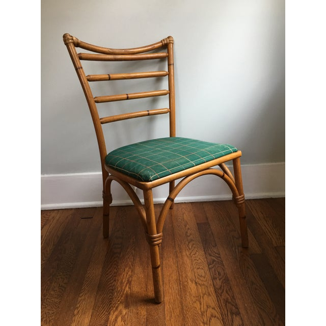 Bamboo 1940s Boho Chic Scorched Bamboo Accent Chair For Sale - Image 7 of 13