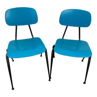 Vintage Mid-Century Teal and Black Metal Chairs- a Pair For Sale
