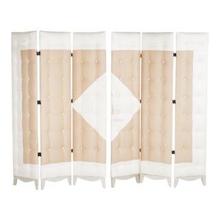 Art Deco Tufted Panel Screens - A Pair For Sale