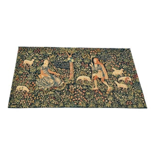 Antique 1940s Noble Pastorale French Mille-Fleurs Tapestry Signed For Sale