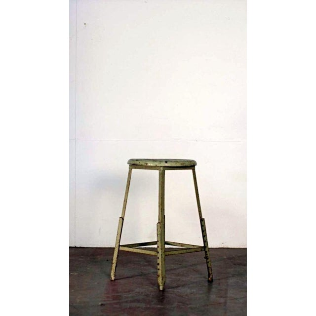 Pair of Industrial Adjustable Bar Stools For Sale - Image 4 of 6