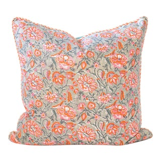"Leux Block Print Pillow - 24x24"" For Sale"