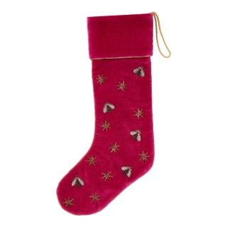 Sparkle Bee Embroidered Stocking For Sale