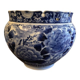 Antique Japanese Blue & White Jardiniere For Sale