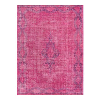 Contemporary Pink Overdyed Wool Rug - 9′8″ × 13′3″ For Sale