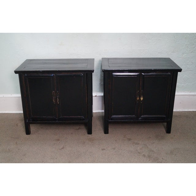 Rustic Black Chinese Cabinets or Chests - Pair - Image 5 of 10