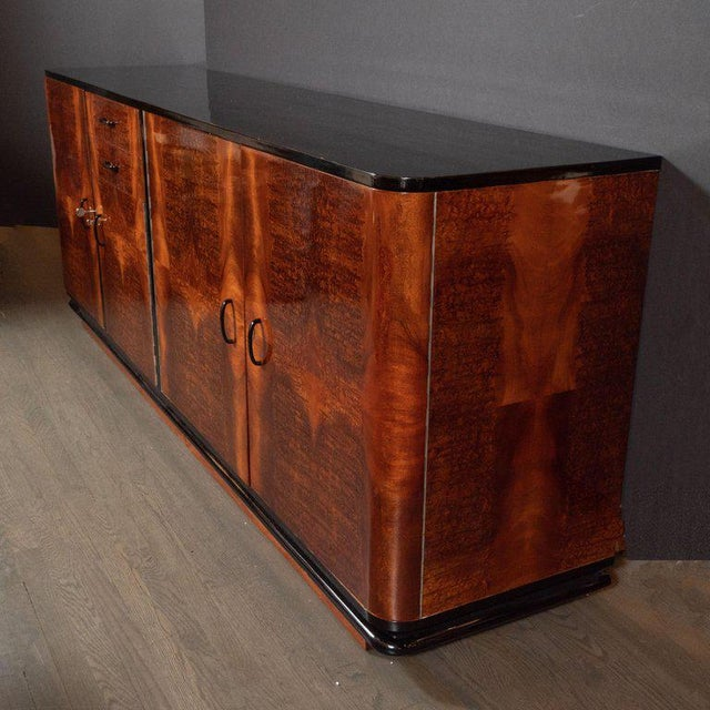 Art Deco Machine Age Burled Bookmatched Walnut and Black Lacquer Sideboard For Sale In New York - Image 6 of 10